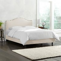 910NBBED-BRLNNTLC Cream Nailhead Trim Twin Upholstered Bed