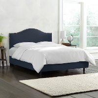 912NBBED-PWLNNNV Navy Nailhead Trim Queen Upholstered Bed