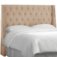 Cream Tufted Wingback King Size Upholstered Headboard