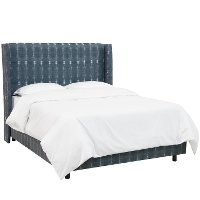 430BEDBLIND Indigo Dyed Wingback Twin Upholstered Bed