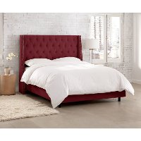 123NBBED-PWVLVBR Berry Tufted Wingback King Size Upholstered Bed