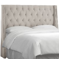120NB-PWVLVLGHGR Gray Tufted Wingback Twin Upholstered Headboard