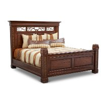 Rustic Traditional Dark Brown King Size Bed - Aspen
