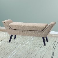 Beige Fabric Bench with Nailhead Trim