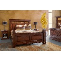 Rustic Traditional Brown 4 Piece King Bedroom Set - Aspen