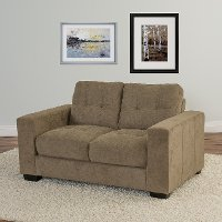 Brown Chenille Fabric Loveseat - Club