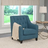 Blue Linen Diamond Tufted Accent Chair - Dana