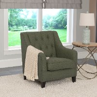 Greenish-Gray Linen Diamond Tufted Accent Chair - Dana