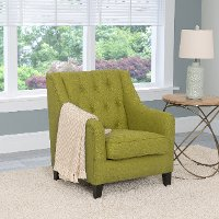 Green Linen Diamond Tufted Accent Chair - Dana