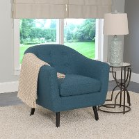 Blue Linen Barrel Accent Chair - Oliver