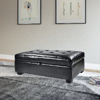 Black Bonded Leather Ottoman with Storage - Antonio