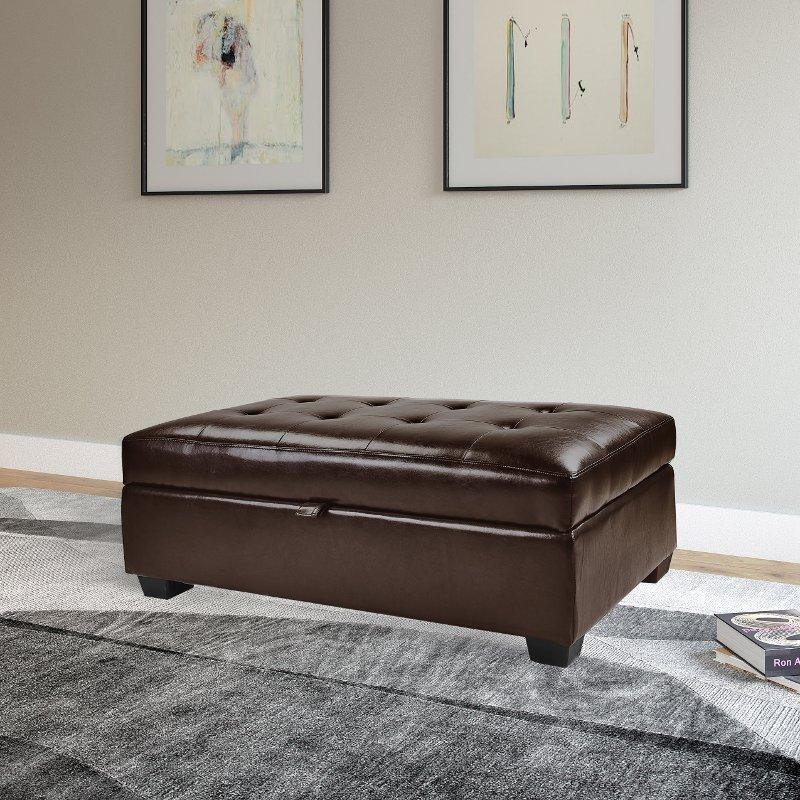 Brown Bonded Leather Ottoman With Storage Antonio
