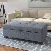Blue-Gray Storage Ottoman - Antonio
