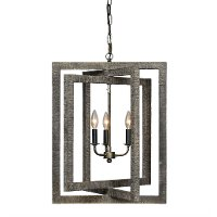Gray Wash Raw Metal 3-Light Foyer Light Fixture - Gloster