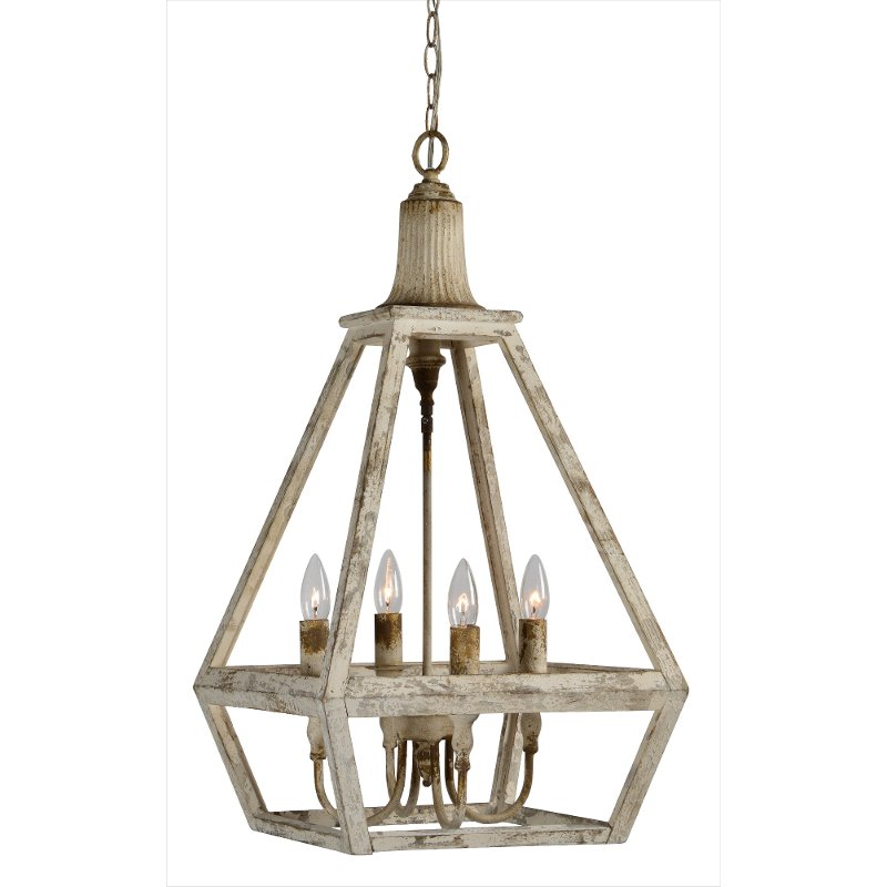 Weathered White 4 Light Pendant Fixture Warner