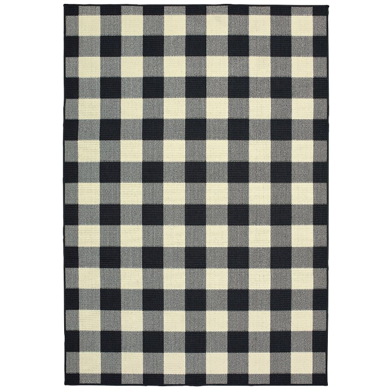 5 X 7 Medium Plaid Black And Ivory Indoor Outdoor Rug Marina