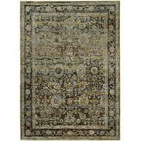 8 x 11 Large Green and Brown Area Rug - Andorra