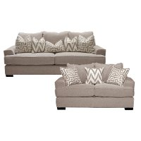 Oatmeal 2 Piece Living Room Set with Sofa Bed - Renegade