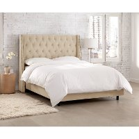 120NBBED-BRVLVPRL Cream Tufted Wingback Twin Upholstered Bed
