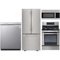 KIT LG 4 Piece Kitchen Appliance Package with Gas Range - Stainless Steel