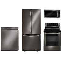 KIT LG 4 Piece Kitchen Appliance Package with 6.3 cu. ft. Electric Range - Black Stainless Steel