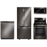 KIT LG 4 Piece Gas Kitchen Appliance Package with 21.8 cu. ft. French Door Refrigerator - Black Stainless Steel