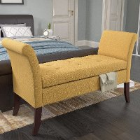 Yellow Scrolled Arm Storage Bench - Antonio