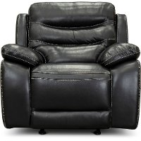 Black Leather Power Glider Recliner with Adjustable Headrest - Shawn