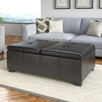 Black Bonded Leather Double Storage Ottoman - Antonio