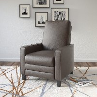 Brown-Gray Bonded Leather Recliner - Kelsey