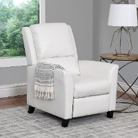 White Bonded Leather Push-Back Recliner - Kate