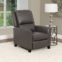 Brown-Gray Bonded Leather Push-Back Recliner - Kate