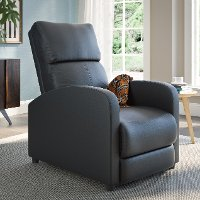 Black Bonded Leather Push-Back Recliner - Moor