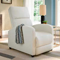 White Bonded Leather Push-Back Recliner - Moor