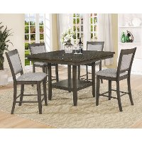 Brown Upholstered Counter Height 5 Piece Dining Set - Fulton