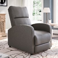 Brown-Gray Bonded Leather Push-Back Recliner - Moor