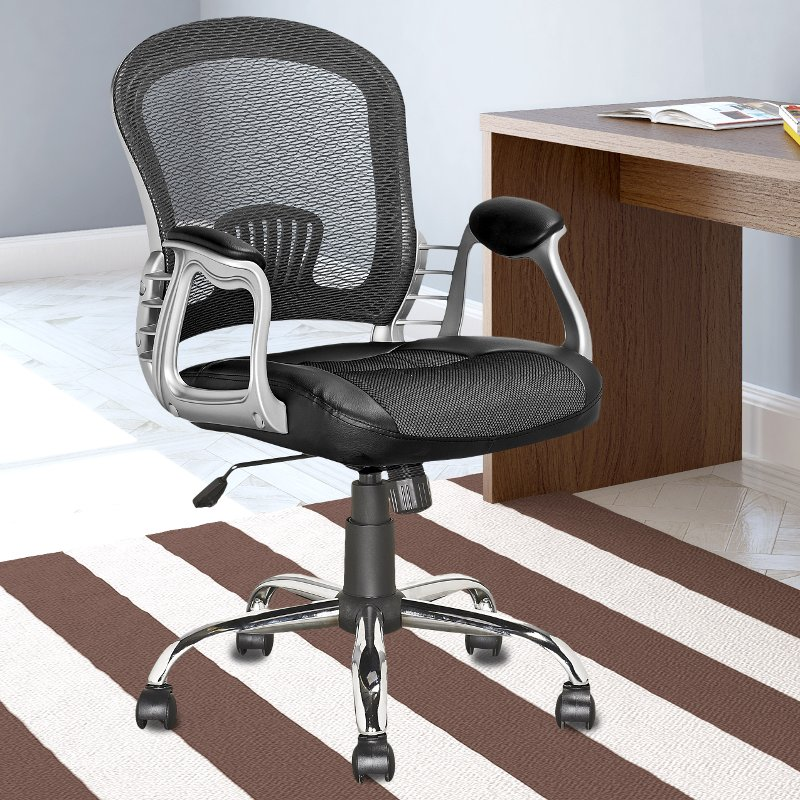 Black Leather And Mesh Home Office Chair Workspace Rc Willey Furniture Store