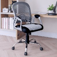 Black and Gray Leather and Mesh Home Office Chair - Workspace