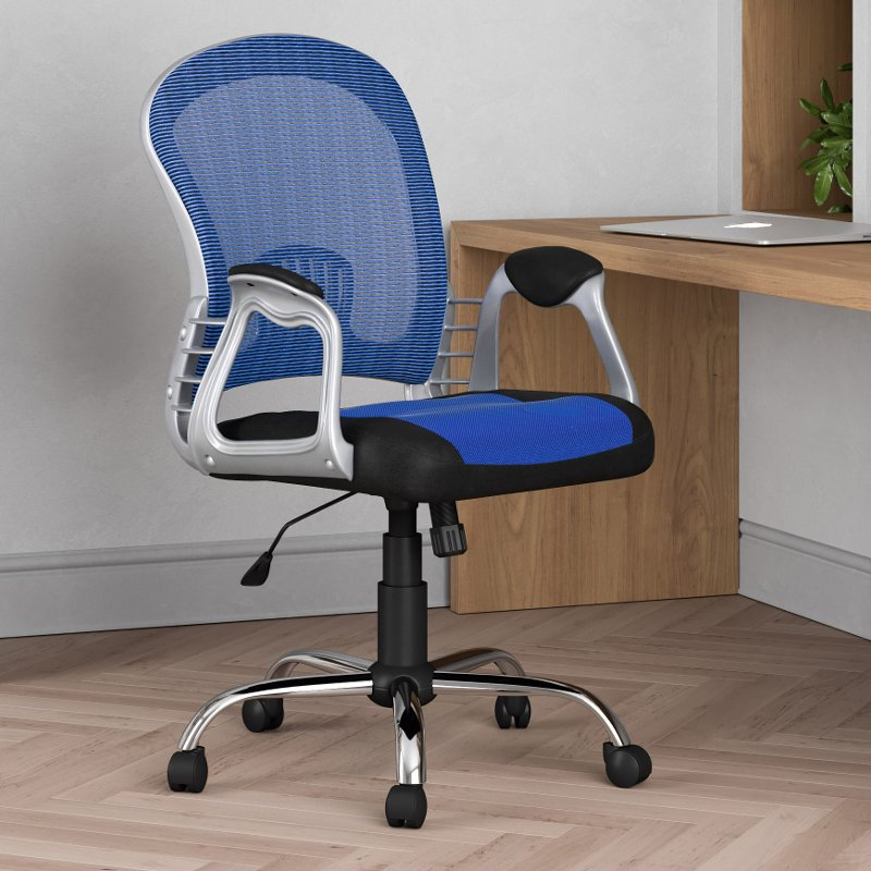 Black And Blue Leather And Mesh Home Office Chair Workspace Rc Willey Furniture Store