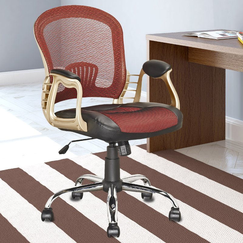Red And Gold Leather And Mesh Home Office Chair Workspace Rc Willey Furniture Store