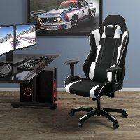 High-Back Ergonomic Black and White Gaming Desk Chair - Workspace