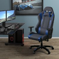 High-Back Ergonomic Gray and Blue Gaming Desk Chair - Workspace