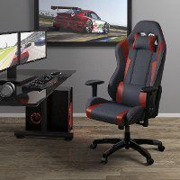 High-Back Ergonomic Gray and Red Gaming Desk Chair - Workspace