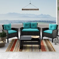 Black and Turquoise 4 Piece Wicker Furniture Set - Cascade
