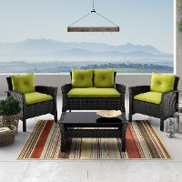 4 Piece Black and Lime Green Wicker Patio Set - Cascade
