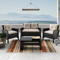 Black and White 4 Piece Wicker Furniture Set - Cascade