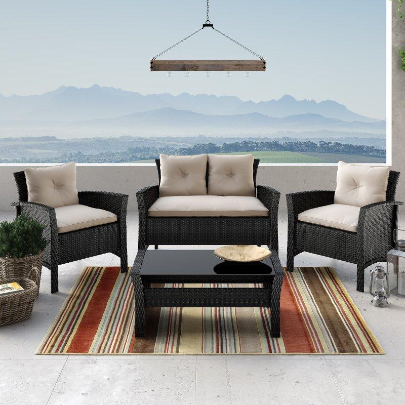 Black and White 4 Piece Wicker Furniture Set - Cascade