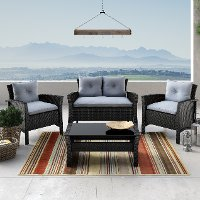 Black and Blue 4 Piece Wicker Furniture Set - Cascade