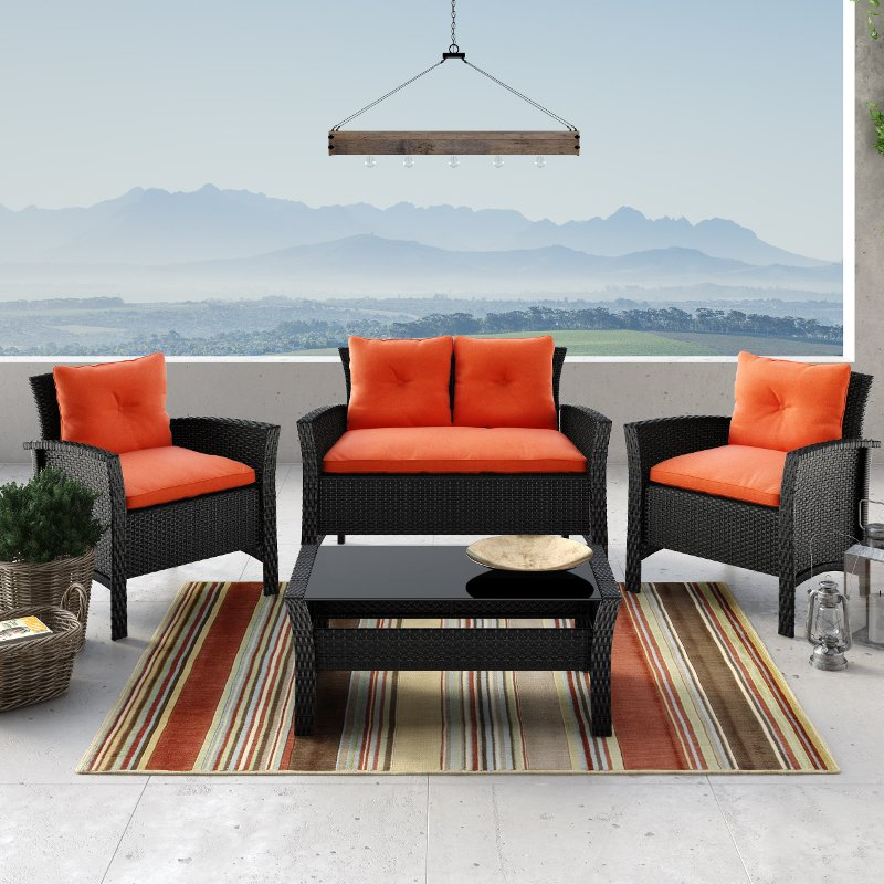 4 piece black and orange wicker patio set   cascade rcwilley image1~800