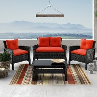 Black and Red 4 Piece Wicker Furniture Set - Cascade
